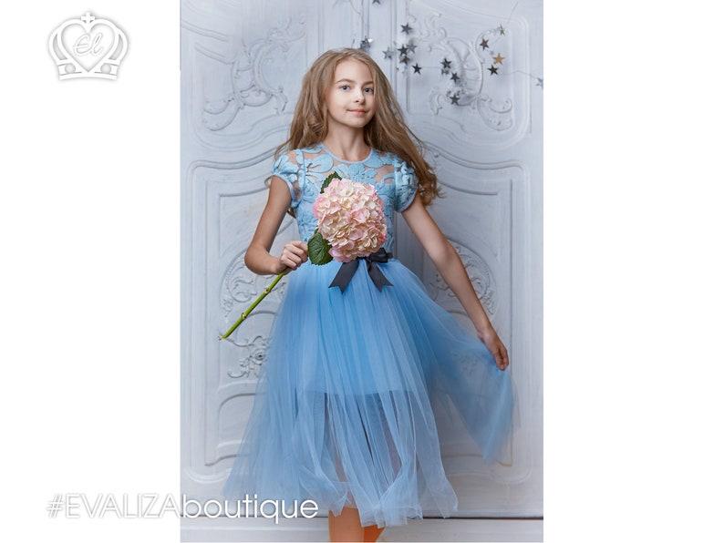 dffb8b1e4fa Light Blue Girl Dress Sleeves Micro Sequin Lace BODICE Layered