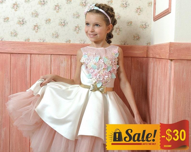33105816eb32 Pink Girls High-Low Dress SALE Flower Girl Dress Bridesmaid | Etsy
