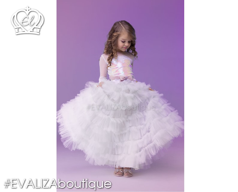 2998eeb2936b11 Two Pieces Girls Dress Pink Sequined lace TOP White tulle