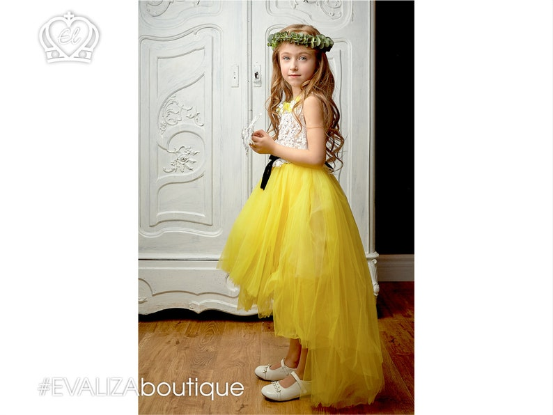 320036e11 High Low Girls Lace Dress Yellow Tulle layered Skirt Black | Etsy