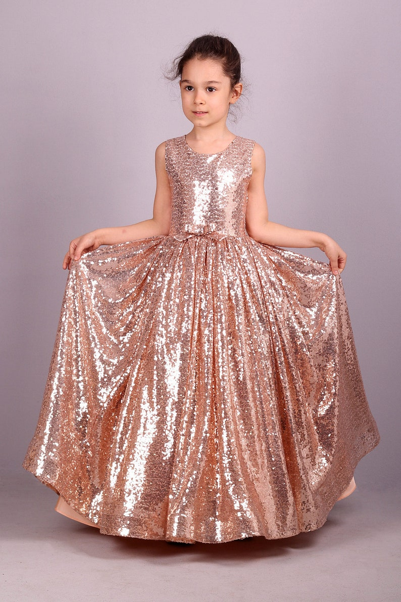 9635e91e68eeb7 Blush Gold Rose Sequin Dress /Adult Sizes are Possible/ | Etsy