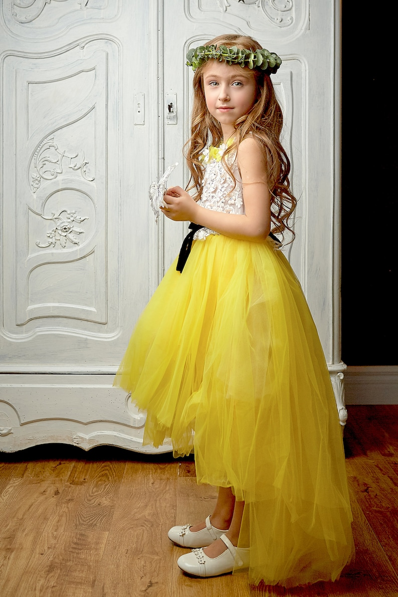 Fancy High Low Girls Lace Kleid Floral Spitze Mieder gelb ...