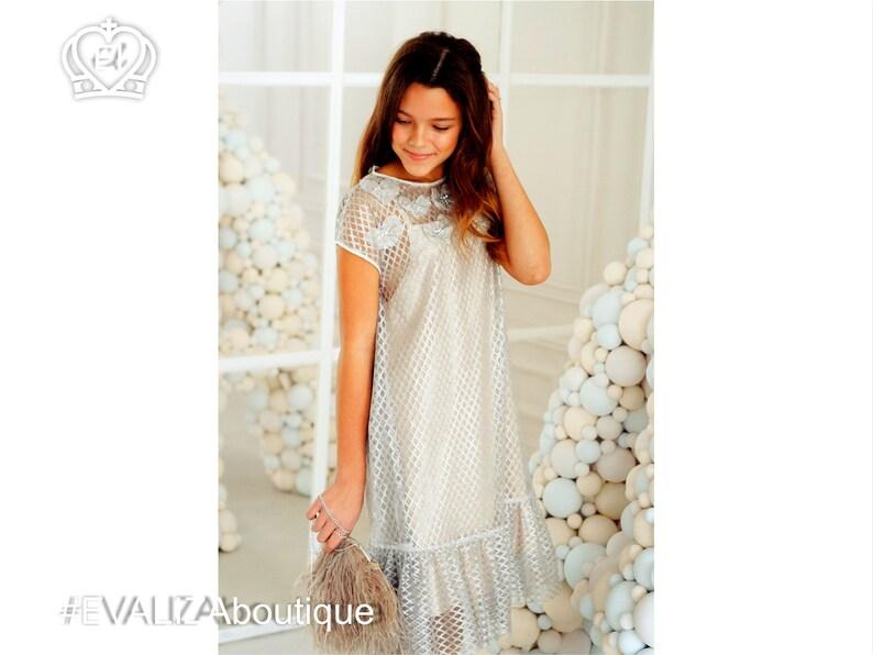 d88ca91a Metallic Girls Dress Flapper Style Silver Glued Net Lace | Etsy
