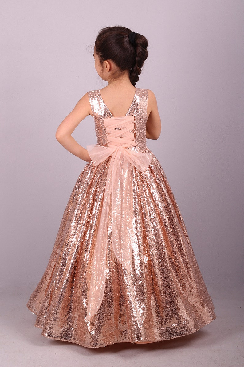 07d0fd1c06fc Blush Gold Rose Sequin Dress /Adult Sizes are Possible/   Etsy