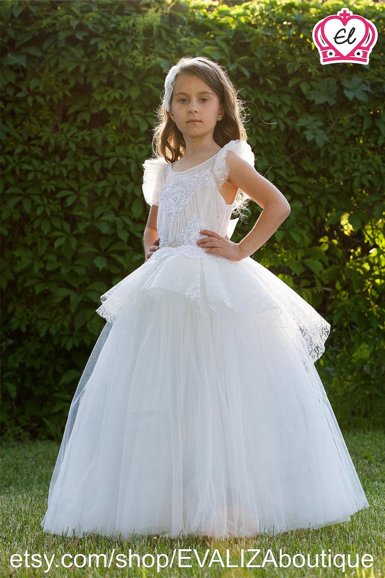 98c41a17bac White tutu Dress white flower girl dress white bridesmaid