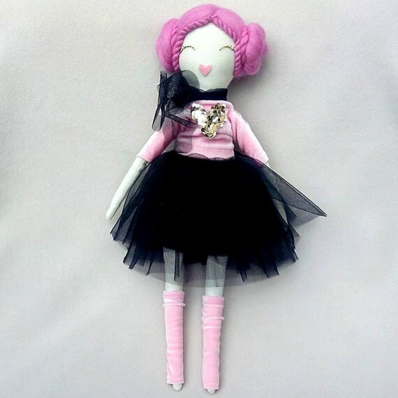 Pink hair Handmade Doll in Party Dress Fabric Tilda Doll Rose  efcf88f0a2c