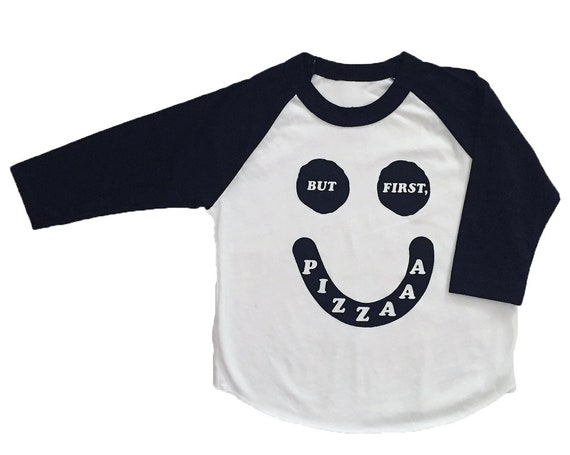 BUT FIRST PIZZA - Toddler Long Sleeve Raglan - Black/White