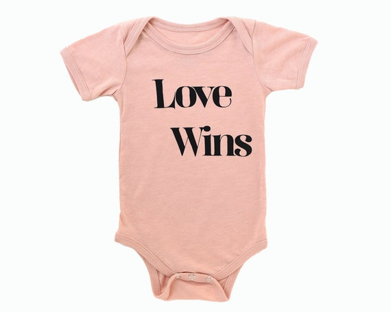 LOVE WINS Baby Bodysuit - Pink