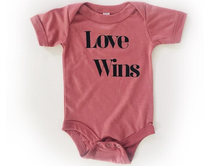 LOVE WINS Baby Bodysuit - Maroon