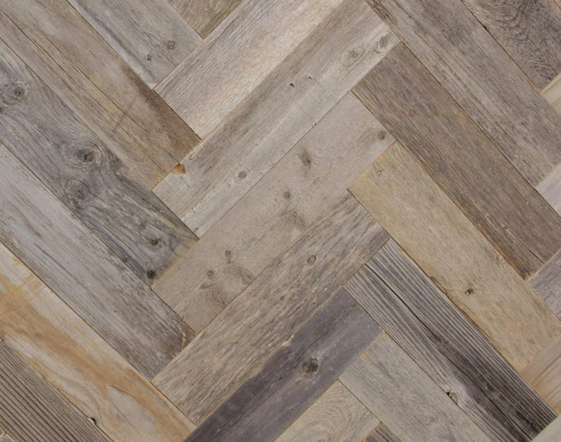 Reclaimed Barn Wood Planks Herringbone Pattern 20 Square Etsy