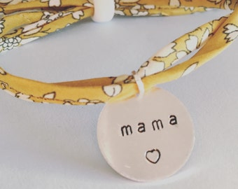 Liberty London, personalised bracelet, handstamped, any message, mama, gift, name, mum, girlfriend, fabric, floral, pretty, uk, gift for her