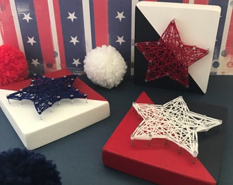 red white and blue star string art patriotic gifts july 4th red white blue decor 4th of july patriotic wood star shelf decor set