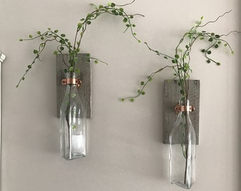 2 wall vases, Wall decor, vase wall decor, pallet decor, pallet wall decor