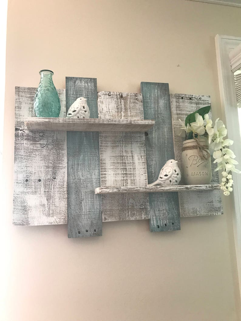 Wide Rustic Pallet Shelf Pallet Shelf Bathroom Shelf White Shelf Blue Shelf Beach Shelf Teal Shelf Bathroom Decor Wall Decor