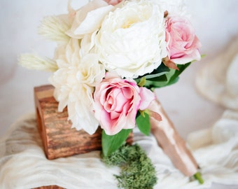 White Peony, Orchid and Dahlia Bouquet