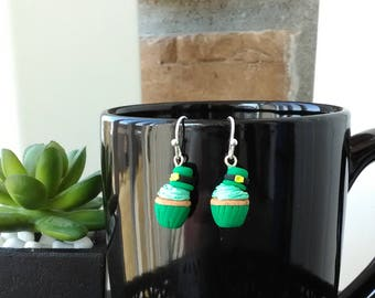 St Patrick's Day cupcake earrings