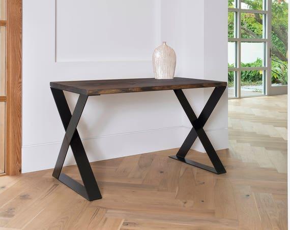 Modern Rustic Desk, Z Legs, X Legs Modern Desk, Office Desk, Dark Walnut Stained, Wood desk,