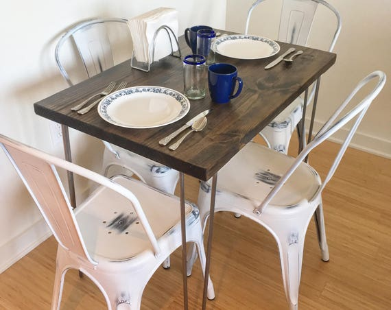 Modern Rustic Dinette Kitchen Table, Hairpin Legs, Industrial Kitchen Table, Dining Table, Cafe Table, Bistro, Restaurant Table, Dark Walnut