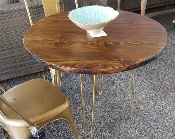 Round Modern Rustic Dinette Kitchen Table, Industrial Kitchen Table, Dining Table, Cafe Table, Bistro, Restaurant Table, Walnut, Gold