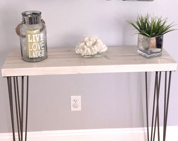 SALE! White Modern Rustic Console Table, Entry Table, Sofa Table, Industrial Table, 3 Rod Hairpin Legs