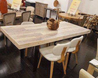 reclaimed dining table kitchen table dining cafe table bistro restaurant table steel legs dinette pallet table white - Kitchen Table Cafe