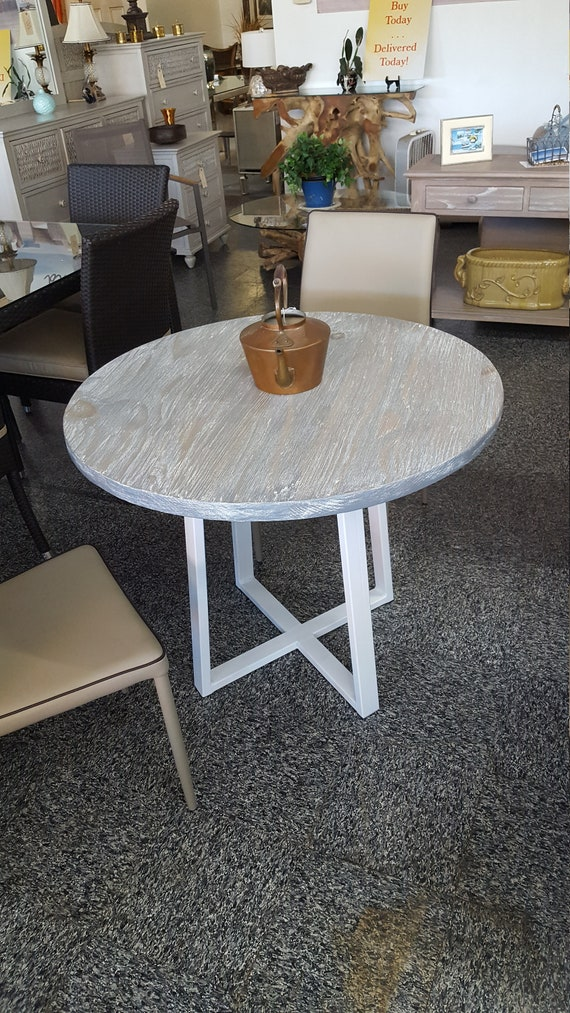 Round Modern Driftwood Dinette Kitchen Table, Industrial Kitchen Table, Dining Table, Cafe Table, Bistro, Restaurant Table, Gray, Grey White