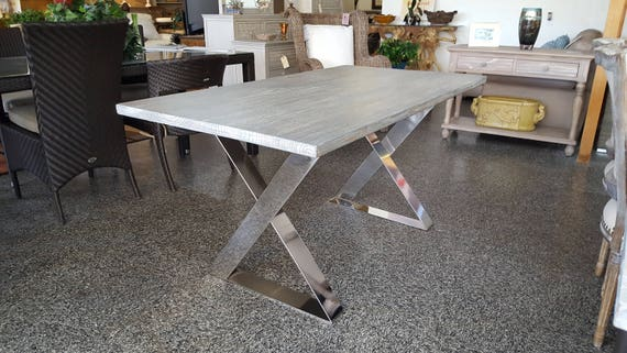 SALE!! Driftwood Distressed Dining Table, Kitchen Table Dining, Cafe Table, Restaurant Table, Steel Legs, Dinette, White, Gray