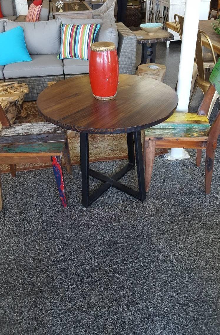 round modern rustic dinette kitchen table industrial kitchen table dining table cafe table bistro restaurant table dark walnut - Kitchen Table Cafe