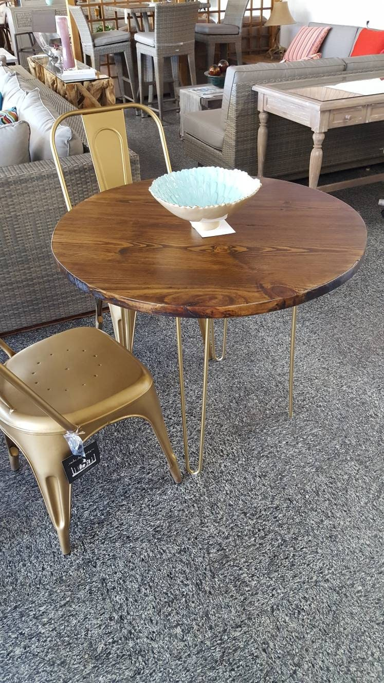 round modern rustic dinette kitchen table industrial kitchen table dining table cafe table bistro restaurant table walnut gold - Kitchen Table Cafe