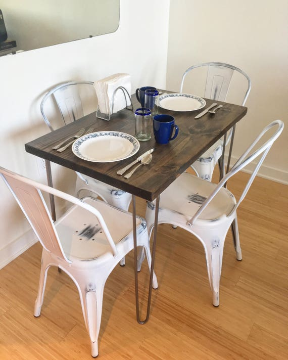 Modern rustic dinette kitchen table hairpin legs industrial etsy image 0 watchthetrailerfo