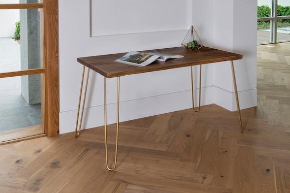 Gold Hairpin Legs Industrial Modern Desk, Modern Rustic Desk, Hairpin Legs, Office Desk Midcentury, Walnut