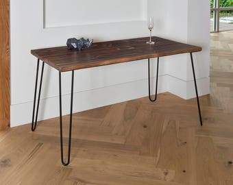 SALE! IN-STOCK! Industrial Modern Desk, Modern Rustic Desk, Hairpin Legs, Dark, Office Desk Midcentury, Shou Sugi Ban