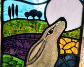 Stained Glass Panel Hare and the Moon
