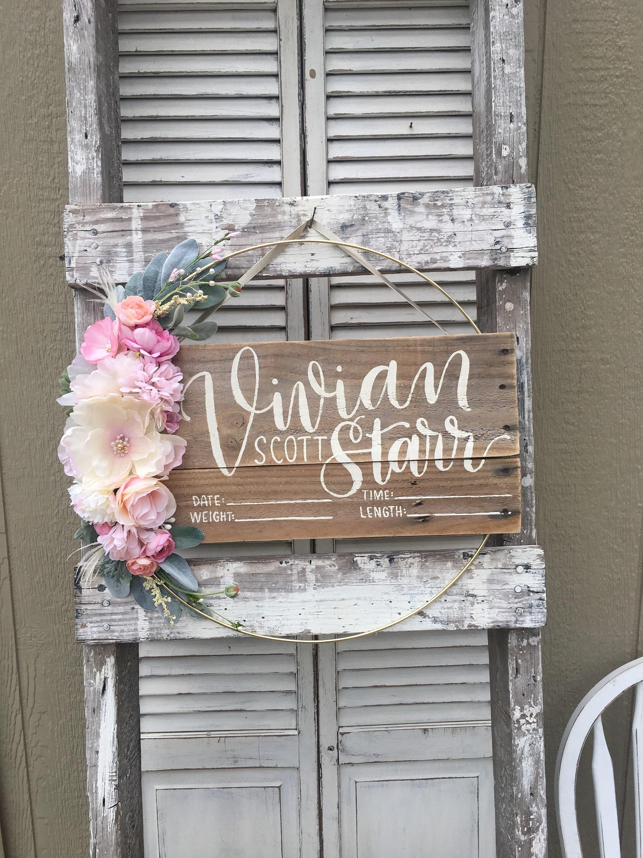 Floral Hospital Door Hanger With Birth Stats