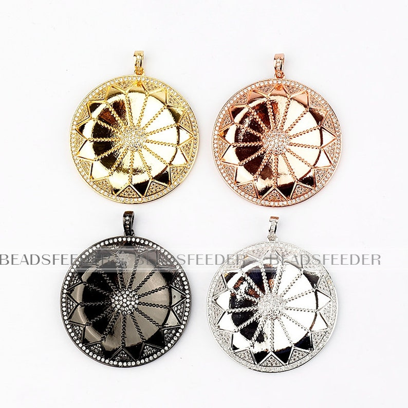 Clear Micro Pave charm CZ  Clear Cubic Zirconia charms in goldrose goldsilver colour 45x38mm 1pc Fancy CZ on disc pendantfocal