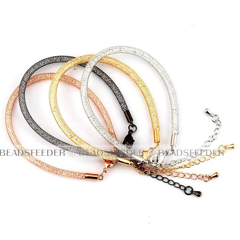 ready to wear 184560cm Soft tube braceletnacklace 1pc diameter 4mm GoldRose goldWhite gold Black plated