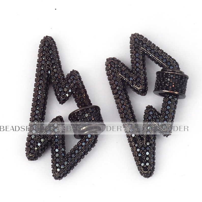 GoldRose goldSilverBlack,Pave Lock,34x17mm,1pc CZ pave Screw on flashing bolt Shape Clasp for metal chain and cord