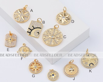 Sun Moon Star Charms for Jewelry Making Gold Polaris Charm Pendant Diy Design Charms for Earrings Necklace Bracelet Brass CZ