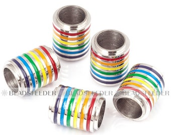 Rainbow strip drum barrel bead , stainless steel based , Gay Pride Day cylinde pendant , gifts for men and women ,15mm 1pc