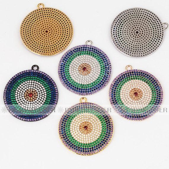 Pendentif de mauvais œil de couleur arc en ciel pour tour de cou dentelle, zircon cubique Micro pavé, zircon pendentif couleur argent/or/gunmetal, 39mm 1pc