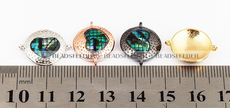 Heart connector\uff0cwith abalone shell chips\uff0cclear CZ micro pave 18mm 1pc space connector