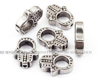 2pcs Hamsha hand bead ,  Stainless steel beads,Men Bracelet Charms ,15mm,