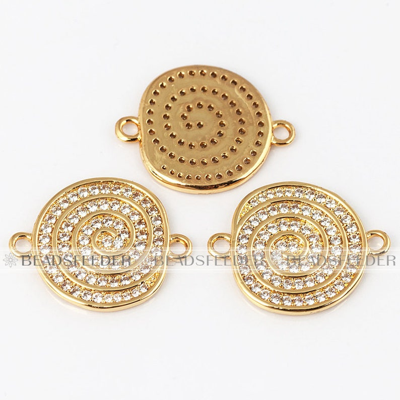 Whirlpool Connector link 22mm,1pc brass base Goldwhitegoldblackrosegold plated clear CZ Cubic Zirconia Micro Pave Connector