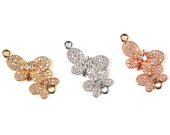 Butterfly connector micro paved ,CZ/Micro pave findinging/Cubic Zirconia CZ space connector  ,Rose Gold/Silver/plated colour, 30mm