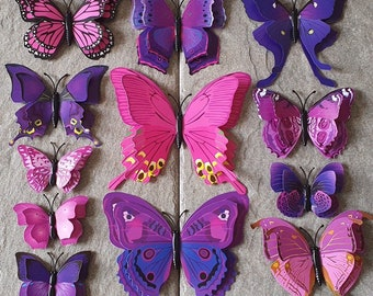 Wall Butterfly. Double Butterfly Art Decal. 12 3D Purple Mix. Butterfly Home Decor. Art Decal. PVC Butterflies. Wall Murals Stick Ons.
