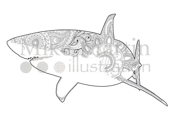 Printable Great White Shark coloring page Instant download adult coloring  page