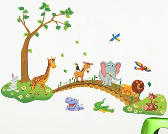 Kids Wall Decal, Animals Kids Decal, Kids Room Decal, Kids Room Mural,  Animals Room Decal, Kids Room Decoration, Animal Wall Decal For Kids