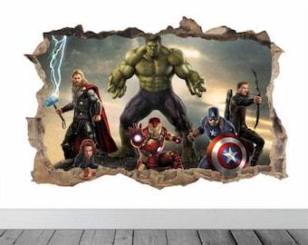 Superhero Wall Decal, Marvel Room Decor, Avangers Decal, Superhero Room Decor, Hulk Wall Decal, Iron Man Decal, Marvel Wall Decal, Hulk Wall