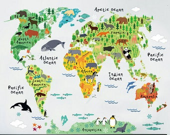 World map decal etsy world map wall decal world map decal wall stickers wall decal map gumiabroncs Image collections