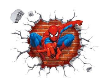 Spiderman Decal, Spider Man Mural, Superhero Decal, Cartoon Sticker,  Spiderman Mural, Spiderman Sticker, Kids Room Decor, Boys Room Sticker